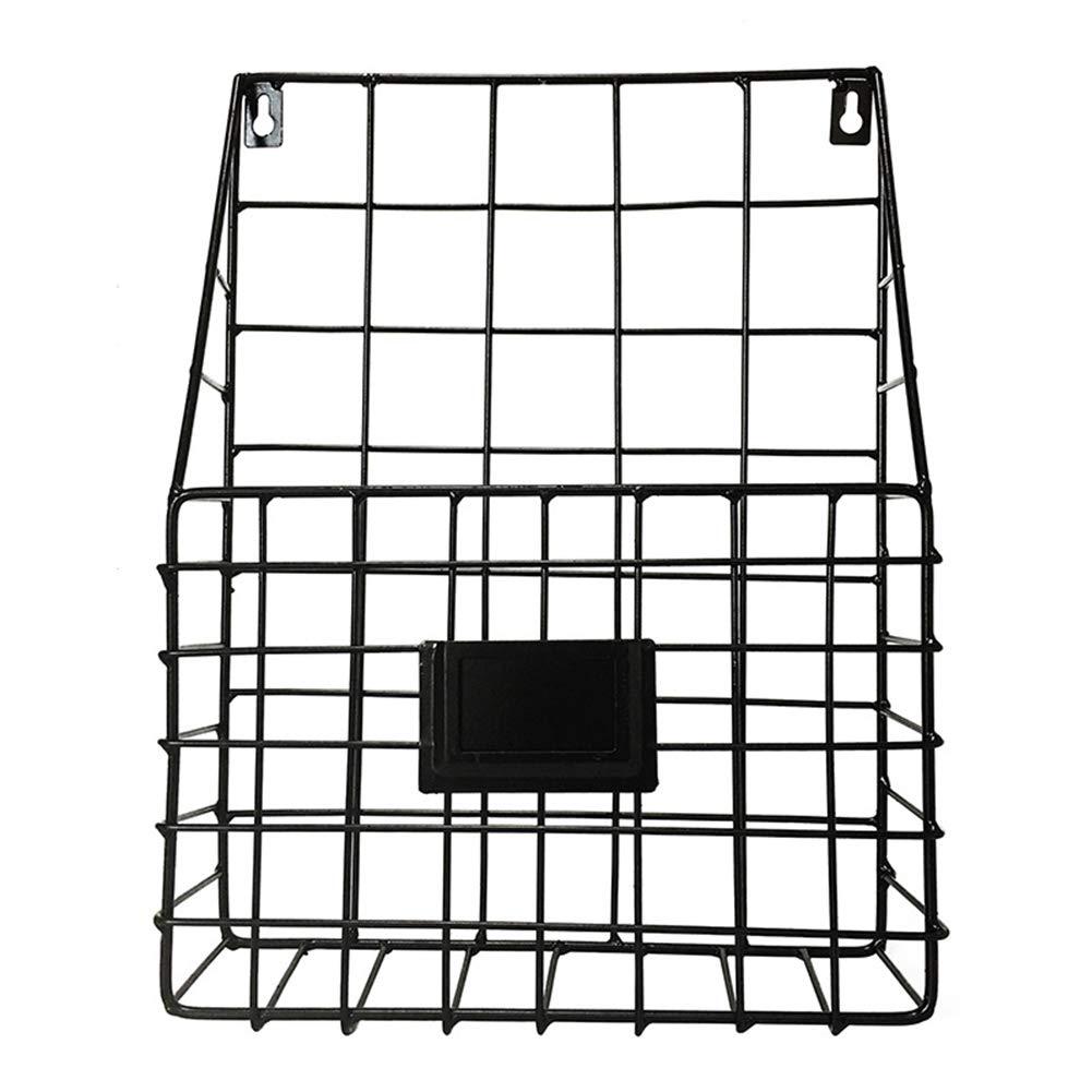 Lovt Wall Mounted Rustic Metal Wire Magazine Storage/Organizer Basket Rack,Wrought Iron Bookshelf Magazine Rack Storage Basket Hanging Shelf (Black)