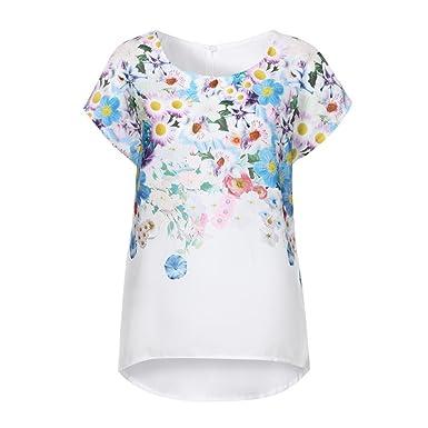 ab7c96fb0ab96b Longra Magliette da Donna Top con Stampa Floreale Camicetta Elegante Donna  Manica Corta Camicie Donna Estive