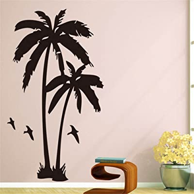 BIBITIME 2 Coconut Trees Wall Decal Black Vinyl Coco Palm Silhouette Birds Sticker for Living Room School Nursery Bedroom Kids Children Rooms Decor Home Art Murals: Home & Kitchen