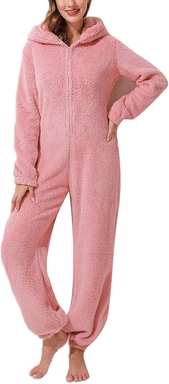 Pigiama Monopezzo da Donna per Bambina con Orecchie di Gatto in Peluche Ispessito Pigiama Tuta con Cappuccio Homewear