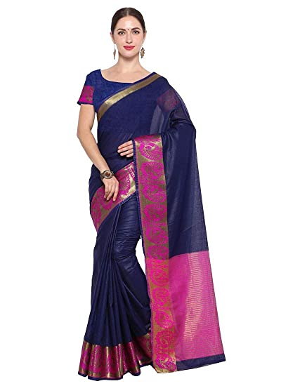 0553dd9a19 Navy Blue Color Cotton Silk Saree: Amazon.in: Clothing & Accessories