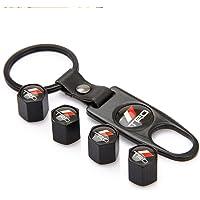 EKIND Tire Stem Valve Caps Wheel Aluminum Valve Covers Car Dustproof Tire Cap Caps + Keychain (Pattern Compatible for TRD)