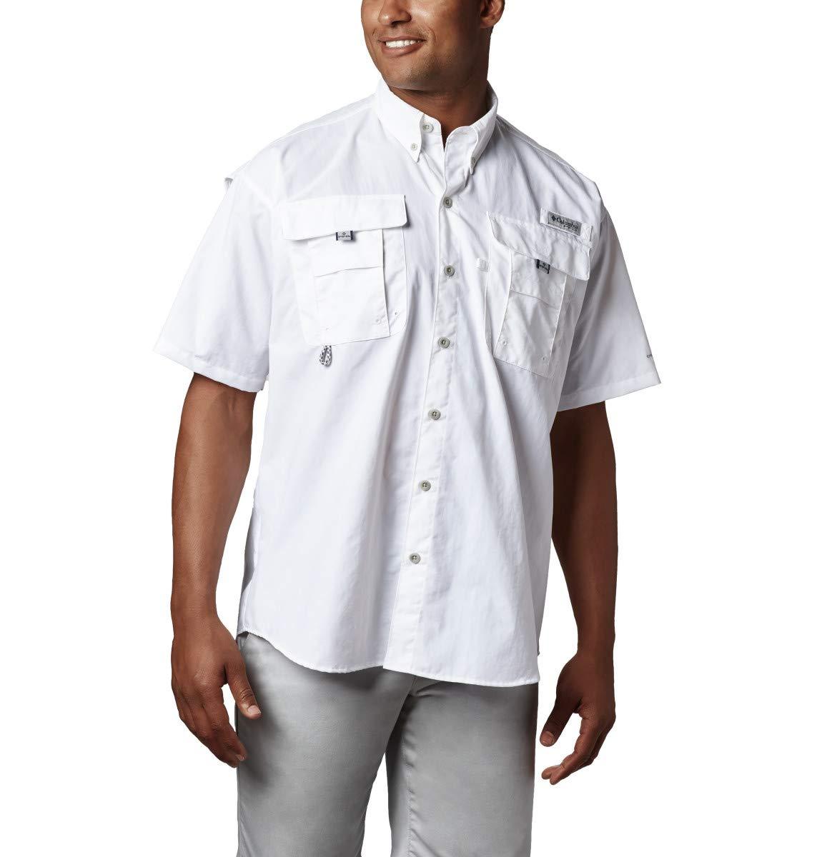 Columbia Men's PFG Bahama II Short Sleeve Shirt, White, Large