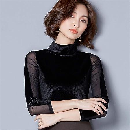 Dumai Camisa Blusas de Terciopelo de Encaje Blusa de Mujer Camisa de Moda Blusa de Manga Larga Cuello Alto Vintage Patchwork Blusas Mujer Tallas Grandes 3XL (Color : Black, Size : XL):