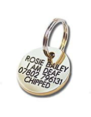 Deeply engraved solid brass 21mm circular dog tag