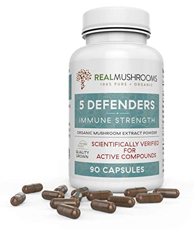 5 Defenders Organic Mushroom Extract Blend by Real Mushrooms – 90 Capsules – Chaga, Reishi, Shiitake, Maitake and Turkey Tail Mushroom Powder – Immune Defense