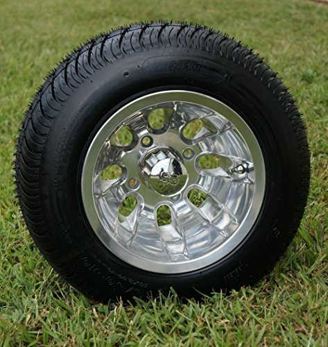 """10"""" SILVER BULLET Polished Aluminum Golf Cart Wheels and 205"""