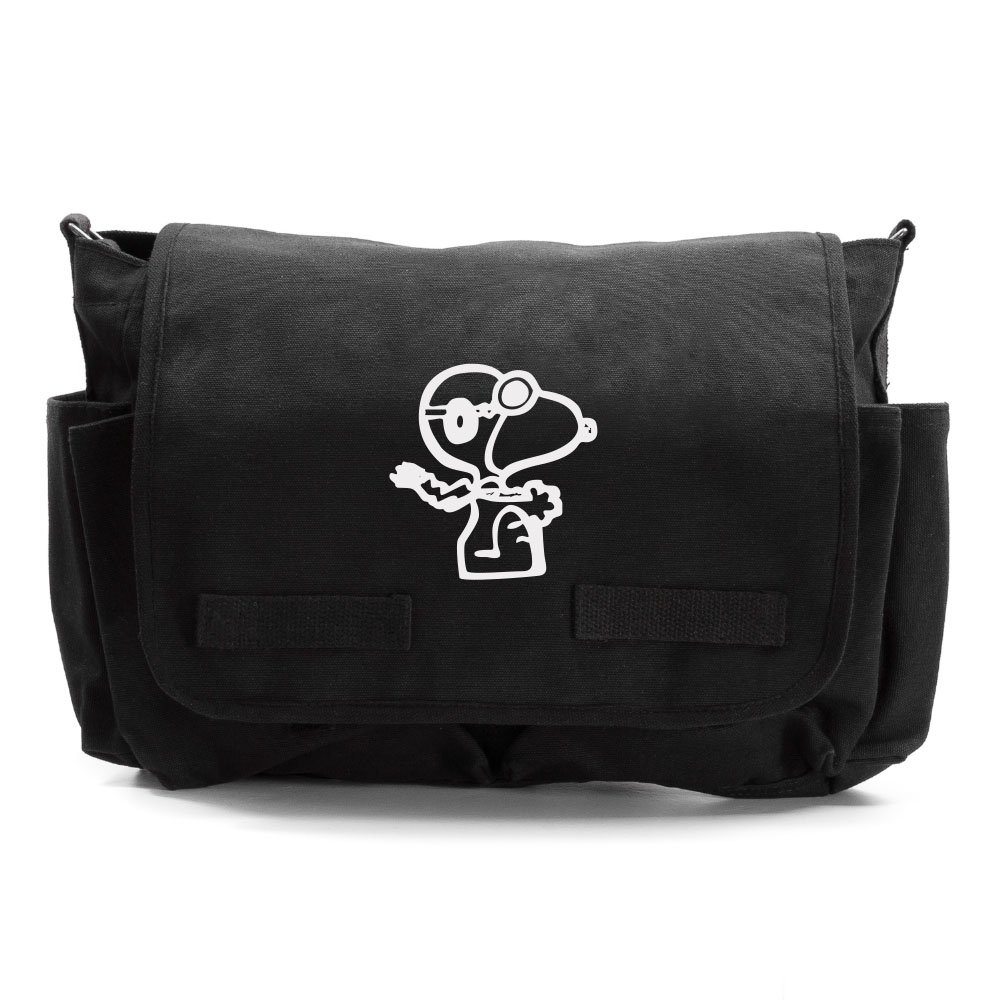 Snoopy Flying Ace Heavyweight Canvas Messenger/Diaper Shoulder Bag in Black & White by Grab A Smile