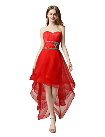 Sarahbridal High Low Prom Dress Wedding Bridesmaid Beaded Cocktail Party Dress SAJ014 Red Size UK6