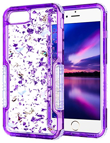 Clear Foil - iPhone 6s Case, HianDier Clear Glitter iPhone 6/6s Protective Gel Case Pearl Foil Embedded Cute Case Shock Absorption Bumper Soft TPU Cover Case for iPhone 6 & 6s - Purple