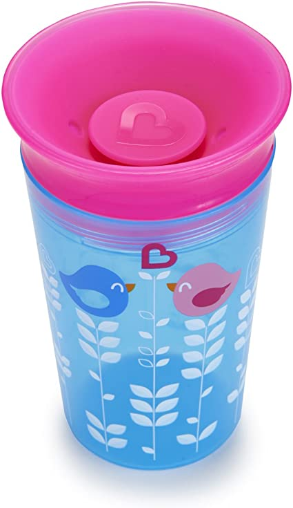 Pink Bird Munchkin Miracle 360 Degrees Deco Sippy Cup 9 oz//266 ml