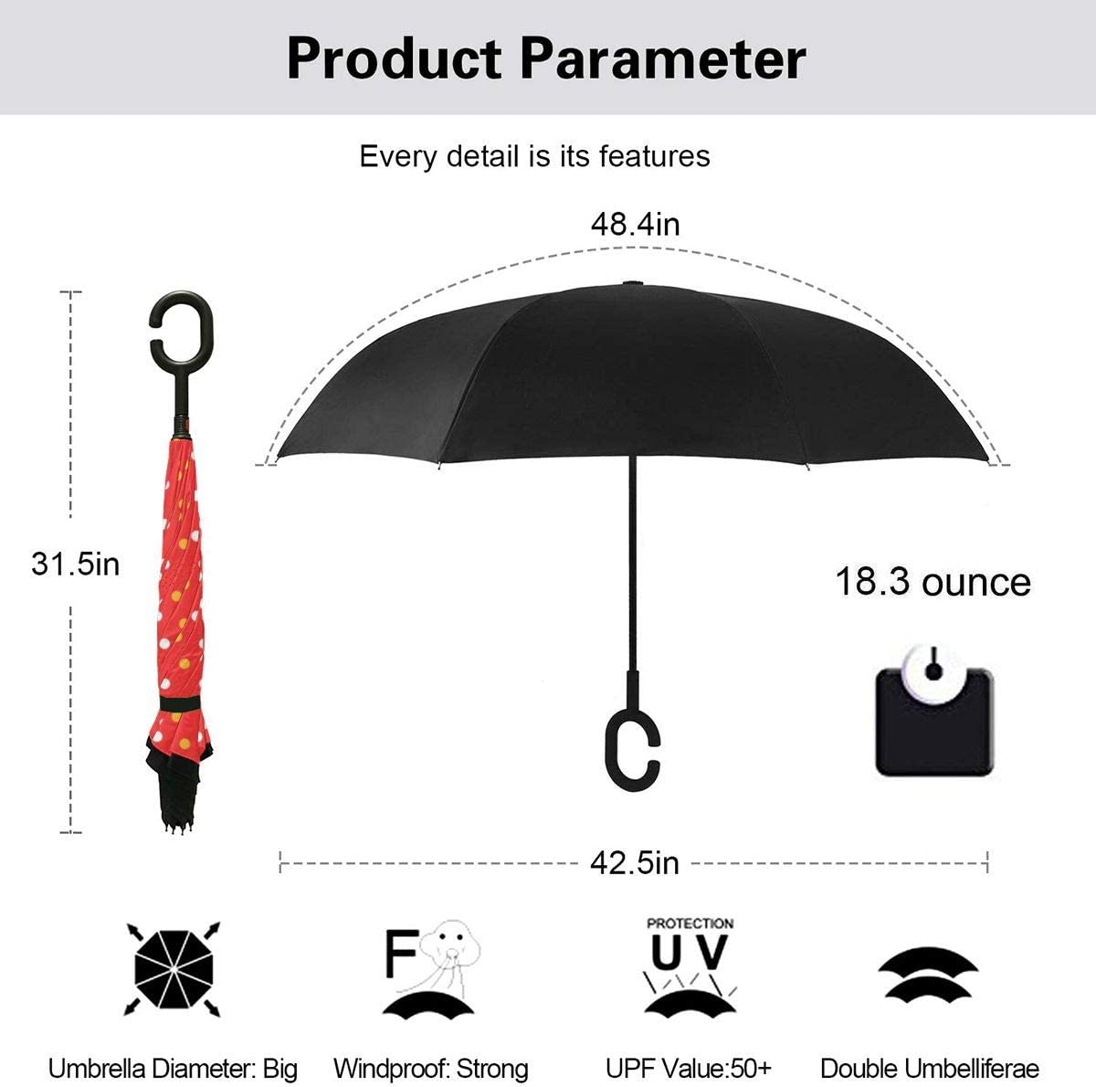 Folding Reverse Umbrella for Car Rain Outdoor Self Stand Upside Down with C-Shaped Handle PYFXSALA Pola Polka Dot Windproof Inverted Umbrella Double Layer UV Protection