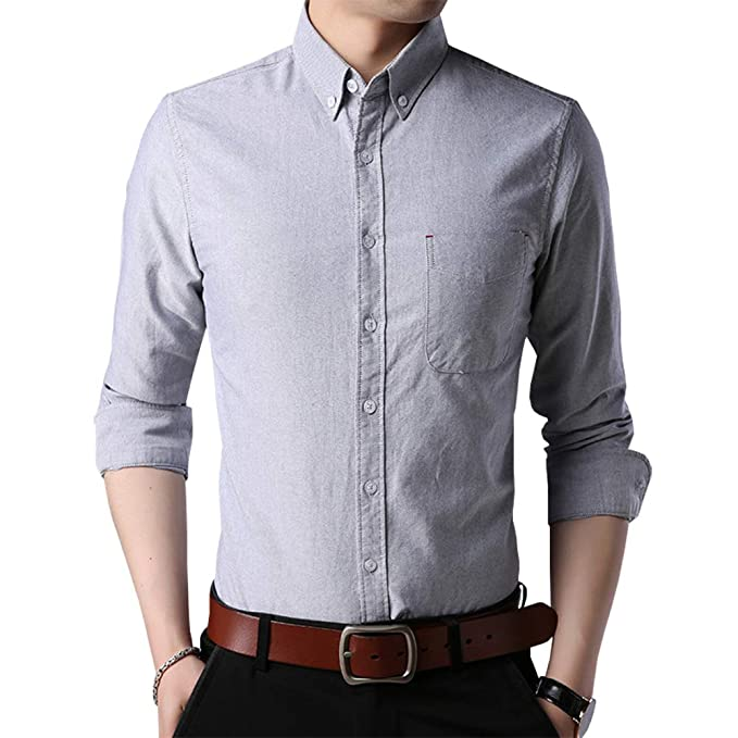 Womleys Mens Casual Long Sleeve Regular Fit Oxford Shirt