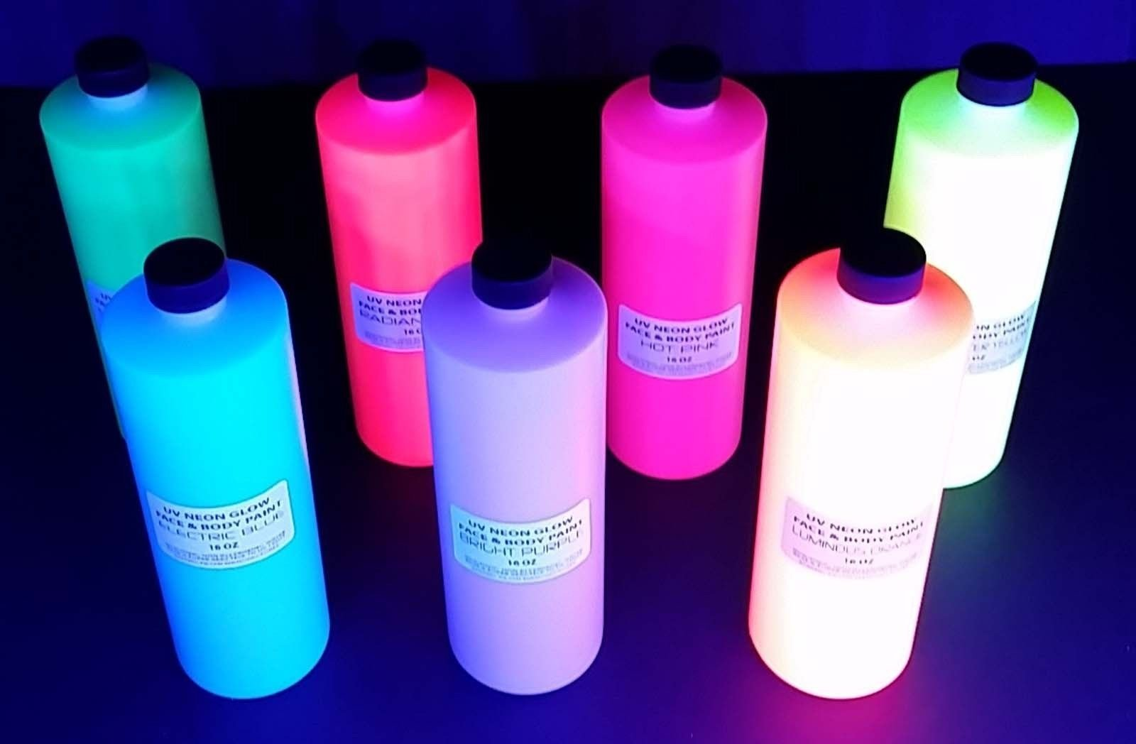 UV BLACK LIGHT GLOW PAINT NEON FLUORESCENT GLOW AIRBRUSH PARTY RAVE NEON RAVE SET OF 7 TUBES UV PAINT 16 OZ