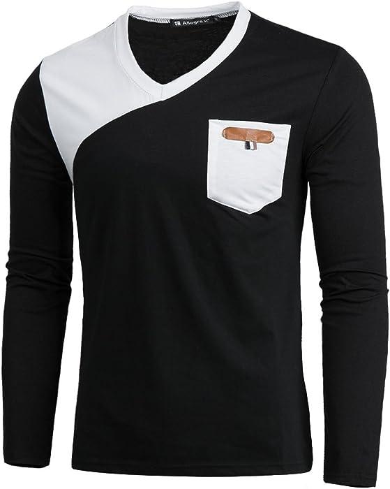 67660721 Allegra K Men V Neck Color Block Chest Pocket Long Sleeves Slim Fit T-Shirt