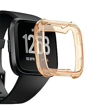 Y56 - Coque de protection pour écran de montre connectée Fitbit Versa - Transparente - Souple