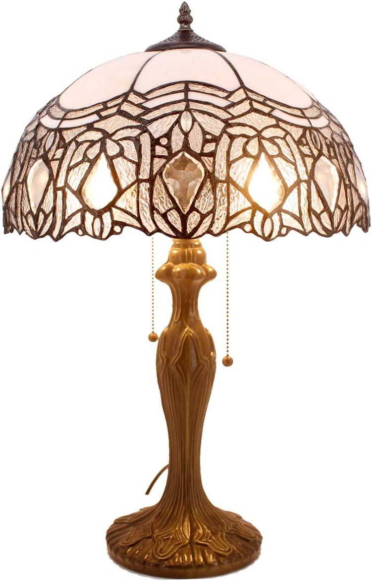 Tiffany Style Table Lamp Stained Glass Beside Desk lamp W16H24 Inch White Bend Crystal Design Lampshade 2 Light Antique Base for Living Room Bedroom Coffee Table S508W WERFACTORY