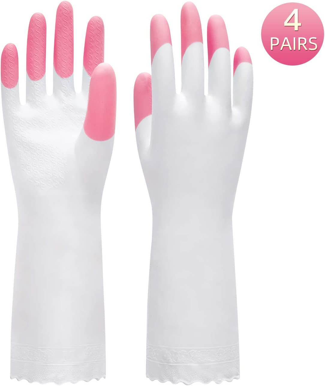 Pacific PPE 4Pairs Cleaning Glove Reusable Household Dishwashing Gloves-Latex Free Waterproof PVC Gloves for Kitchen,Gardening Gloves Unlined(Pink,M).