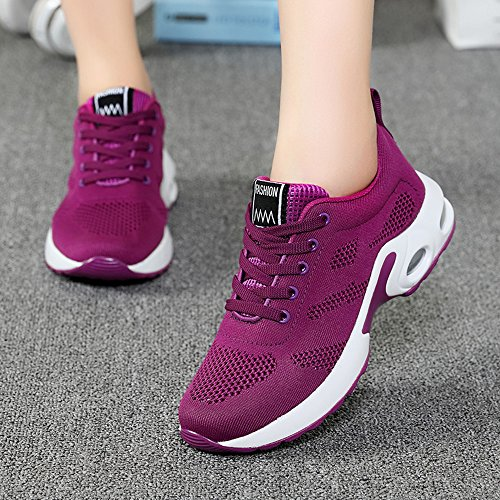 Weien Womens Ladies Trainers Running Fitness Air Sneakers Athletic Lace Up Sports Shoes Black Pink Purple Red 4cm 35-40 Purple