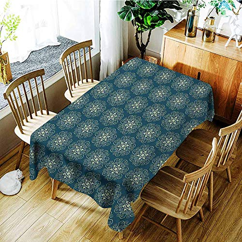 XXANS Outdoor Tablecloth Rectangular,Victorian,Vintage Stars and Abstract Geometric Swirls Pattern Timeless Motifs,Dinner Picnic Table Cloth Home Decoration,W54x72L Dark Teal and Pale Green ()