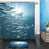 Vanfan Bathroom 2Suits 1 Shower Curtains & 1 Floor Mats mackerel school feeding 50570533 From Bath room