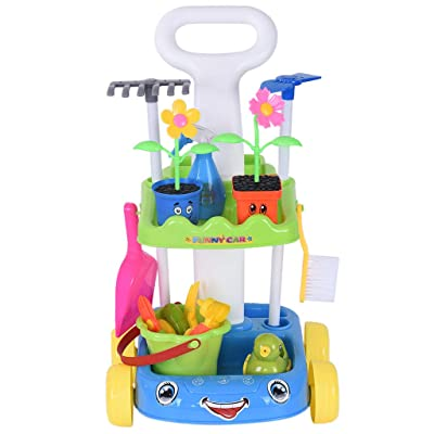 Garden Play Set, shamoluotuo Potted Plants and Tool Trolley Kids Gardening Set with Flower Pots, Watering Cans, Rake, Shovel, Hoe and Trowel Pretend Cleaning Gardening Trolley (Blue): Toys & Games