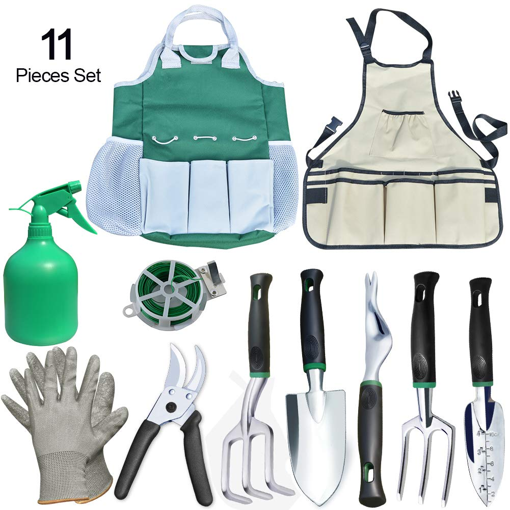 Auelife Garden Tools Set, 11 Pieces Rust Resistant Aluminum Alloy Gardening Kit with Non-Slip Handle -Durable Storage Tote Bag and Adjustable Canvas Gardening Apron-Garden Gifts for Men and Women