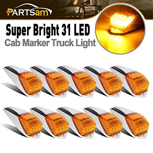 (Partsam 10pcs Bright Yellow Amber 31 LED Cab Roof Running Marker Top Lights w/Chrome Base for Kenworth Peterbilt Freightliner Western Star Volvo International Mack Paccar Truck Waterproof)