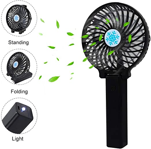 2 Speed Mini USB Table Desk Personal Fan Portable Electric Handheld USB Rechargeable Pocket Fan Travel//Home//Personal Fan Cooling Metal Design Quiet Operation USB Cable Fan