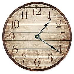 RUSTIC WOOD WEATHERED CLOCK Large 10.5 Wall Clock Decorative Round Novelty Clock PRINTED WOOD IMAGE Beach Wood Clock