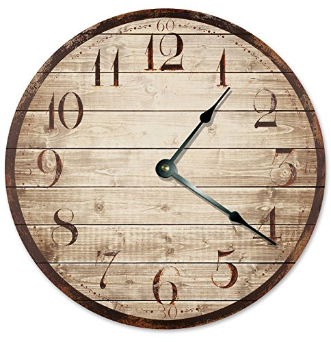 RUSTIC WOOD WEATHERED CLOCK Large 10.5