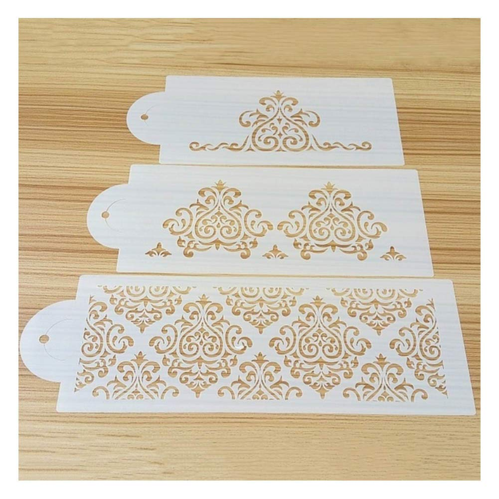 Cake Stencils, DIY Cookie Practical Lace Flower Cake Cookie Fondant Side Baking Stencil Wedding Decorating Tool,5Pcs by Cake Stencils (Image #7)