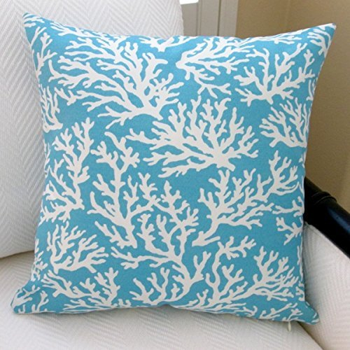 Artisan Pillows Outdoor 18-inch Coral in Pastel Blue Modern Beach House Throw Pillow (Set of 2)