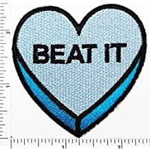 blue Heart Beat it patch Applique for Clothes Great as happy birthday gift