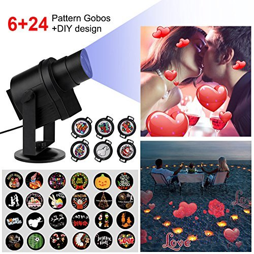 Diglot New DIY LED Projector Lights 30pcs Gobos with 360° Rotating & Anti-fading IP65 Waterproof Body Good Choice for New Year ,Holiday ,Party ,Wedding and Garden Decoration