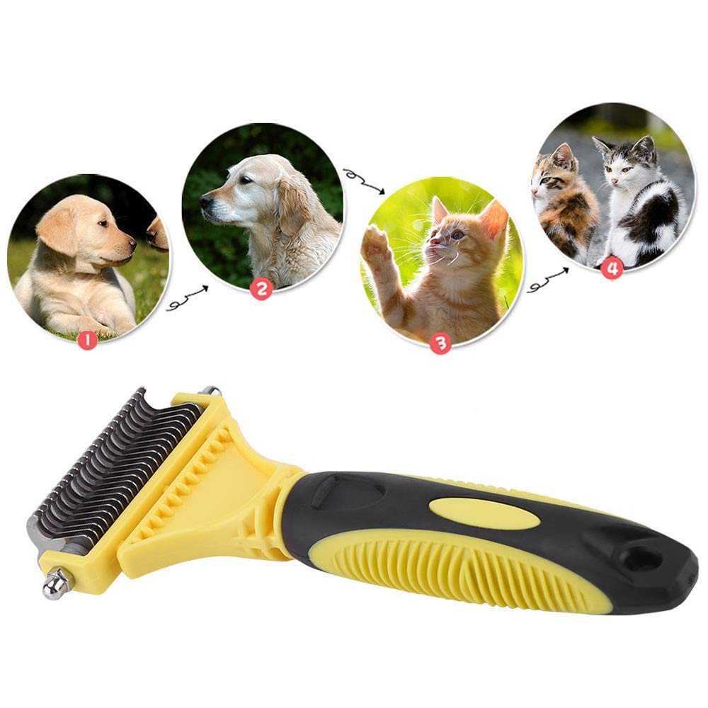 Y&J Pet Grooming Brush Open Knot Comb Dog Hair Brush Plastic Handle Comfortable Pet Double-Sided Open Knot Comb