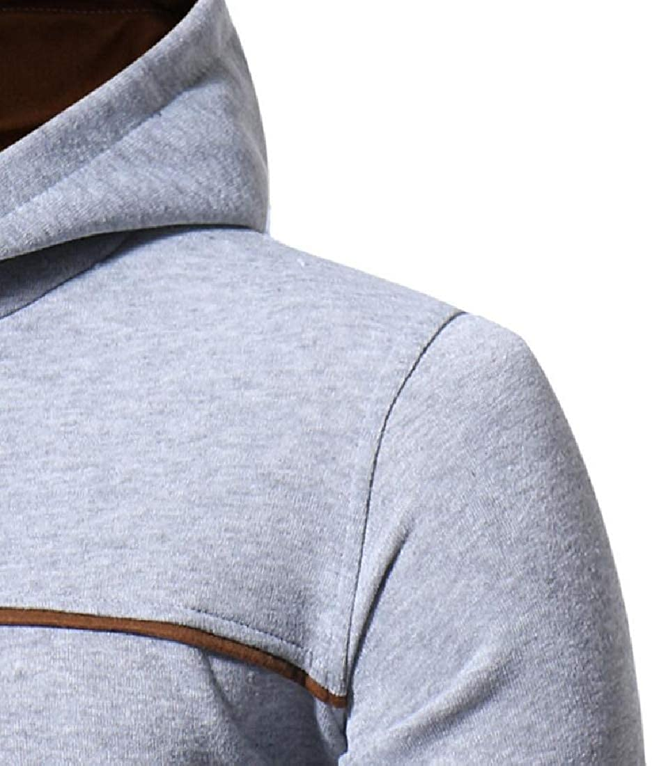 Yayu Mens Patchwork Drawstring Sweatshirt Outwear Pullover with Pocket