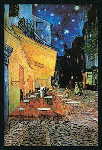 (Framed Art Print, 'Cafe Terrace At Night, 1888' by Vincent van Gogh: Outer Size 25 x 37