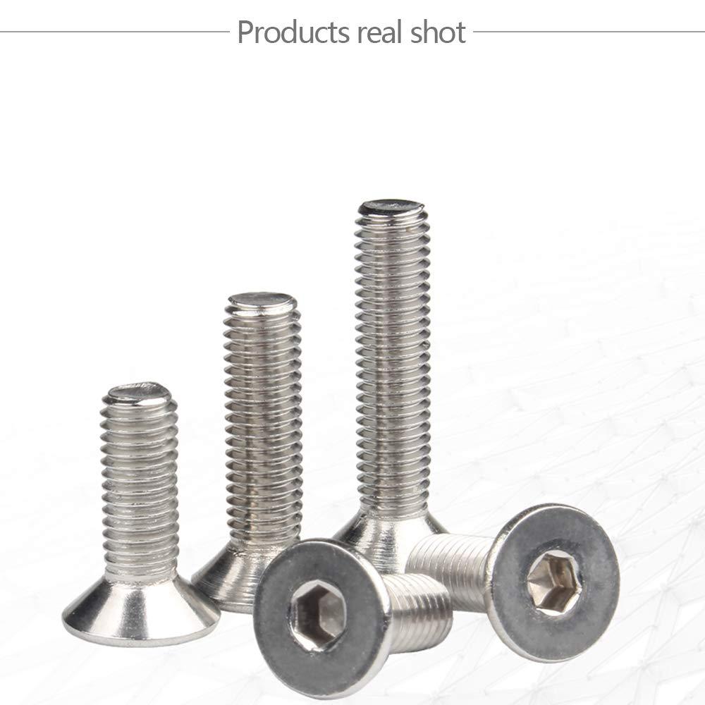 YINSONG 304 Edelstahlschrauben - Flachkopf Sechskant Senkkopfschrauben Sechskantschrauben M5//M6, Silber, M6*35 (50 PCS