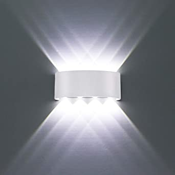 HYDONG LED Wall Lights White Aluminium Waterproof Modern Wall Lamp 8W Up Down Spot Light Cold White 6000K Wall Wash Light for Living Room, Bedroom,