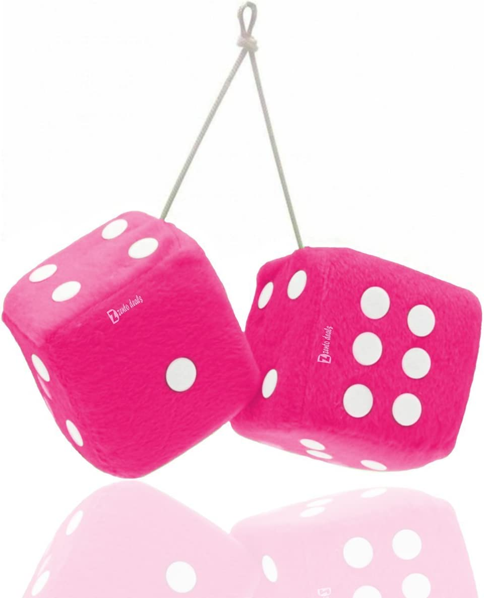 Zento Deals Pair of 3 inch Square Pink Hanging Fuzzy Dice with White Dots