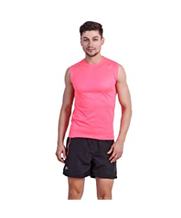 DIDA Men's Pink Polyster Round Neck Sleeveless Sports Running Tshirt