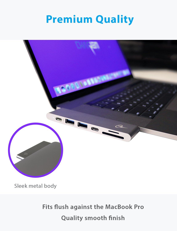 USB C Hub for Apple MacBook Pro 2018, 2017, 2016 - USBC Adapter, Premium MacBar, Thunderbolt 3 (TB3) 40GB/S data, 5K@60Hz, HDMI 4K, Type C, 2 USB 3.0, SD and Micro SD Card Reader, 7in1, Space Gray by CharJenPro (Image #3)