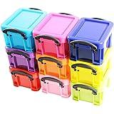 Ensemble de 9 mini boites de rangement en plastique empilables et colorées avec fermetures à clips par Kurtzy TM