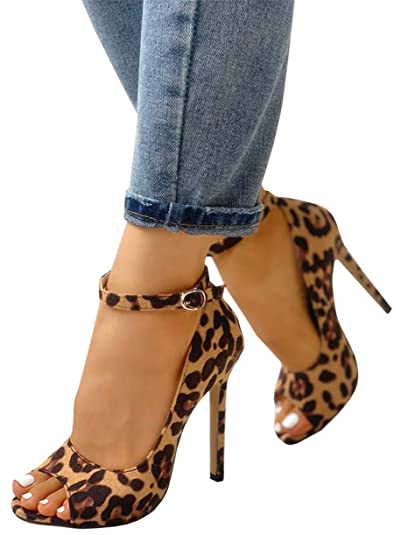 68efc70ceee Syktkmx Womens Leopard Stiletto Heels Ankle Strap Peep Toe Thin High Heeled  Sandals