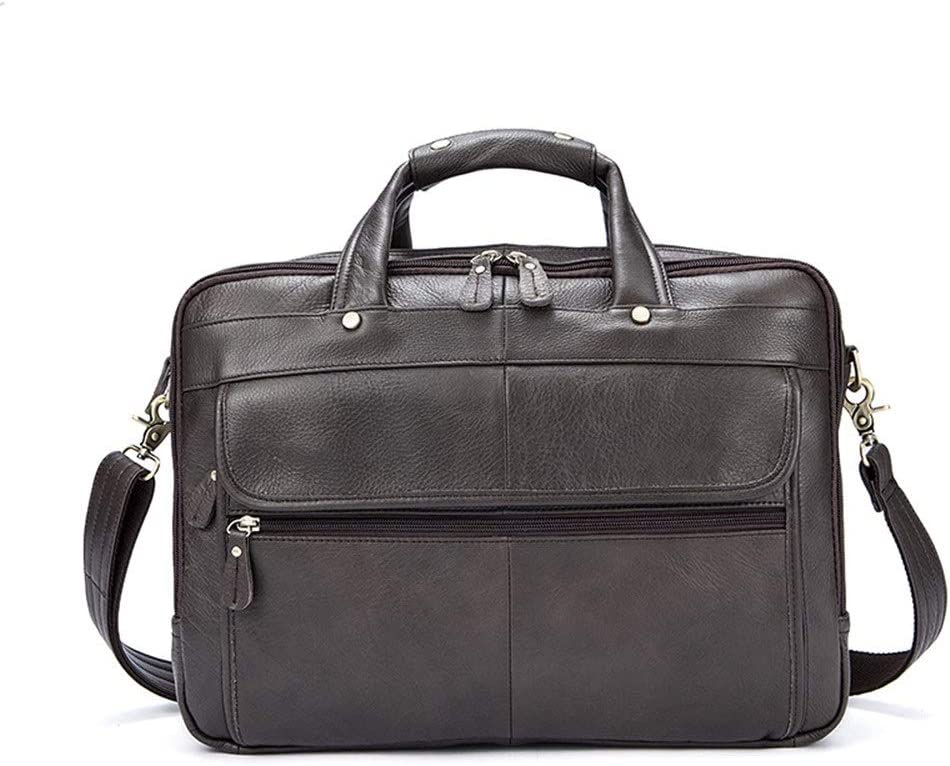 First Layer Leather Briefcase Shoulder Bag Leather Mens Bag Business Mens Casual Briefcase Business Bag Laptop Bag Crossbody shoulder bag Color : Green Oil , Size : 39x30x10cm Laptop briefcase