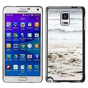 TopCaseStore / la caja del caucho duro de la cubierta de protección de la piel - Sand Waves Beach Ocean - Samsung Galaxy Note 4 SM-N910F SM-N910K SM-N910C SM-N910W8 SM-N910U SM-N910