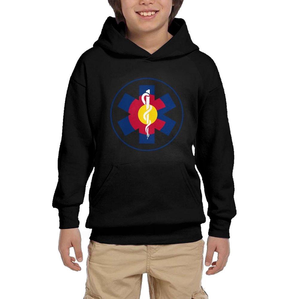 Hapli Youth Black Hoodie Colorado Flag EMT Logo Hoody Pullover Sweatshirt Pocket Pullover For Girls Boys XL by Hapli
