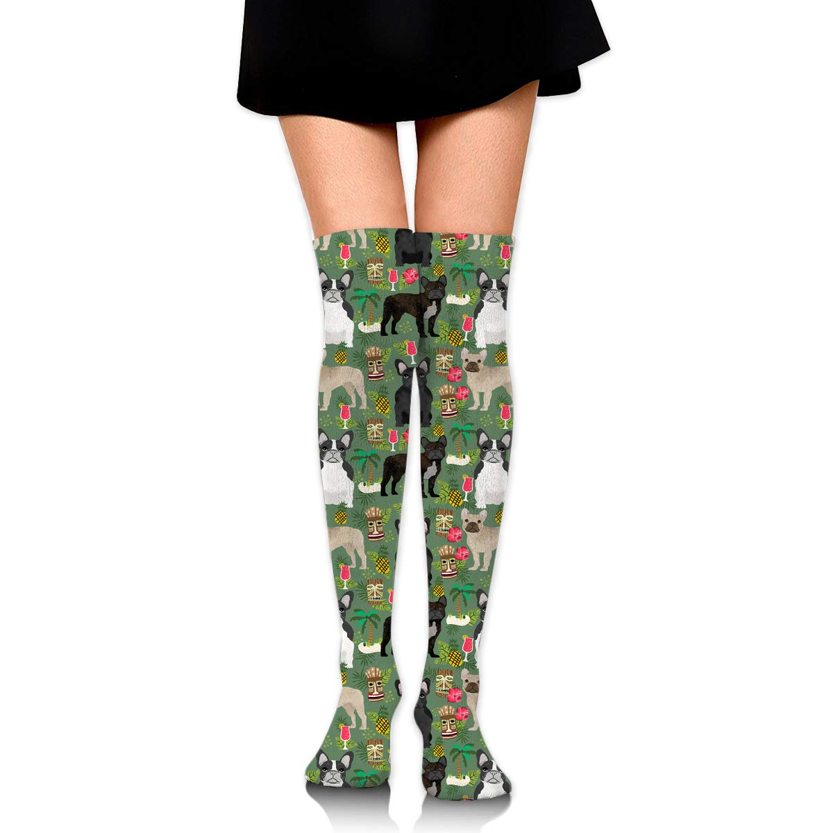 Womens//Girls French Bulldog Summer Islands Casual Socks Dresses Over The Knee High Socks 23.6