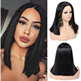 Quick Wig Yaki Straight Wig Natural Black Synthetic Wigs Shoulder Length Brazilian Virgin Wigs for Women 14 inches